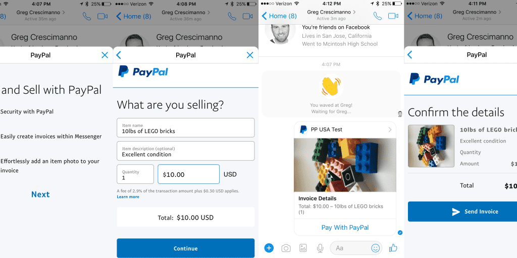 now you can send paypal invoices over facebook messenger